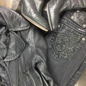 Miss Me Skinny Jeans Black Faded Wash sz26